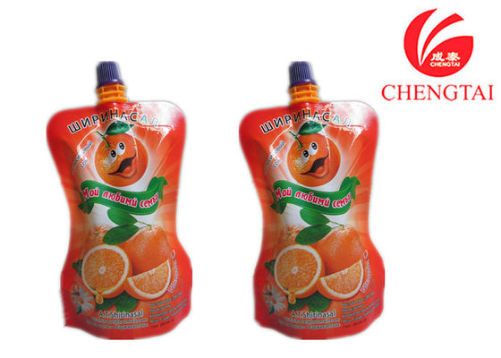 Cina Orange Juice / Water Shaped Drink Stand Up Pouch Dengan Spout Bag pemasok