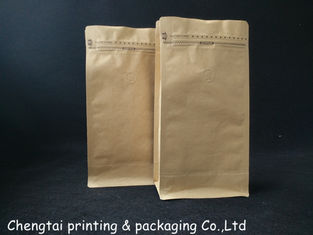 Cina Custom Printed Natural Kraft Paper Bags / Flat Bottom Coffee Beans Free Standing Pouch Bag pemasok