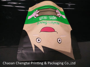 Cina Snack Food Brown Paper Bag Packaging Pouch / Stand Up Zipper Pouch Easy Carry pemasok