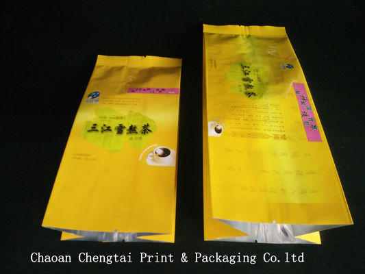 Cina Custom Tea Packaging Side Gusset Pouch With 105 Micron Thickness pemasok