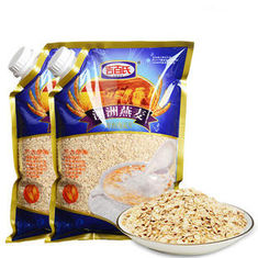 Cina Custom Print Three Side Seal Bag Clear Window For 1000g Oatmeal pemasok