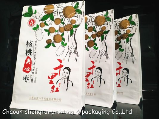 Cina 170 Micron 500g Flat Bottom Pouches / Square Bottom Ziplock Pouch For Walnut pemasok
