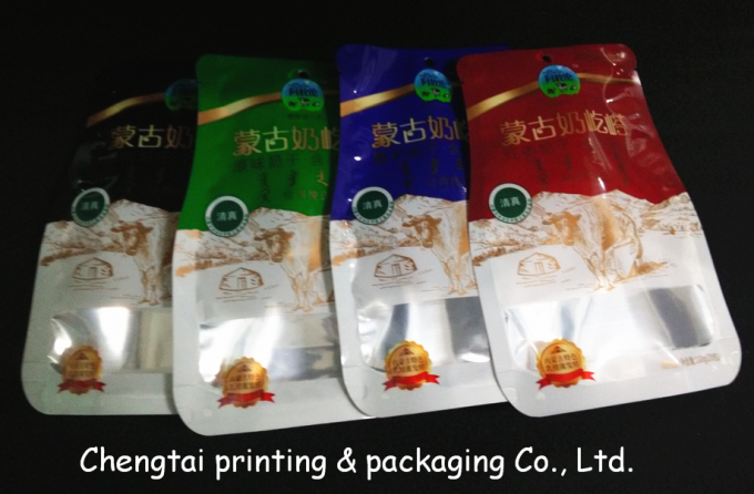 Semi Aluminum Recyclable Shaped Pouches Food Packaging Bags With Tear Notch