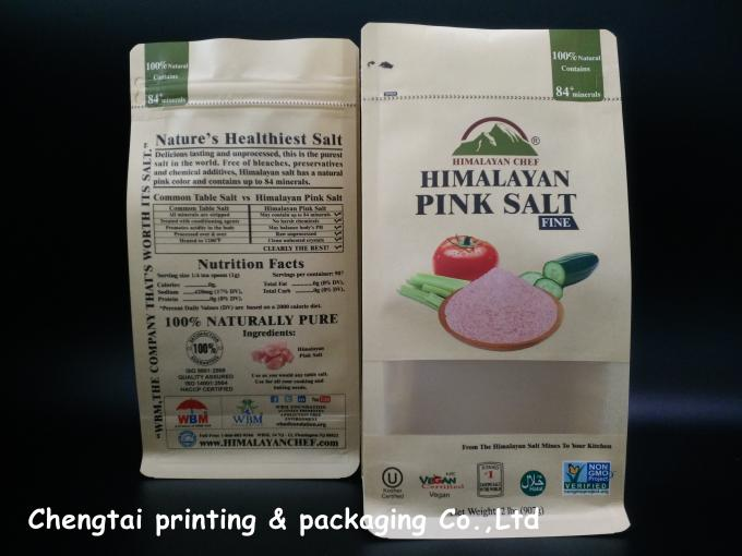Himalayan Salt Paper Pouch Packaging Kraft Paper Pouch With Zip Lock / Block Bottom