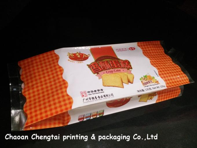 Food Grade Gusseted Plastic Bags For Biscuit / Bread / Cake Packaging QS Approval