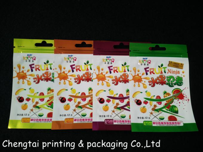 Small Plastic Dried Fruit Bags / Three Side Seal Pouch Food Grade Material