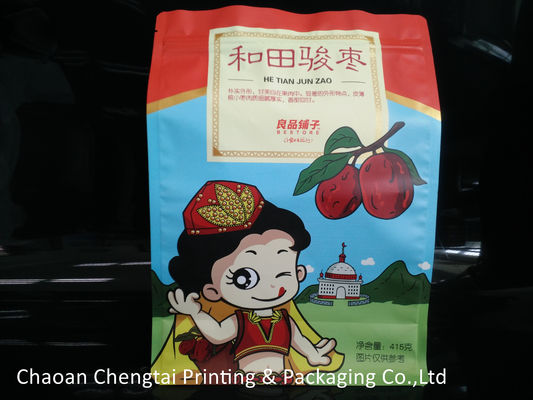 Cina 415g Flat Bottom Pouches / Dry Fruit Packaging Bags Heat Sealing Non Toxic Distributor