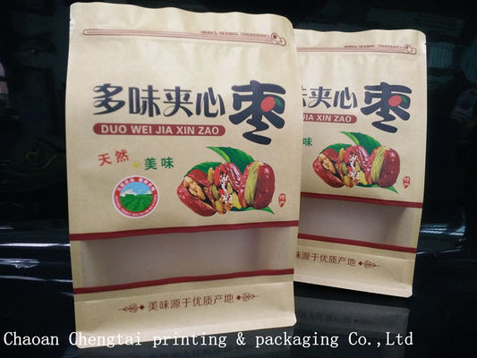 Cina Dry Fruit Flat Bottom Plastic Bags / Non Toxic Paper Packaging Pouch W20*H30 Distributor